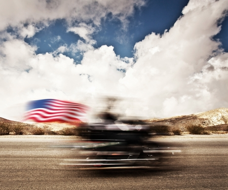 slow motion: Slow motion on motorbike, blur movement on bike rider, motorcycle road trip, summer US tour ride, people traveling on countryside highway, freedom lifestyle Stock Photo