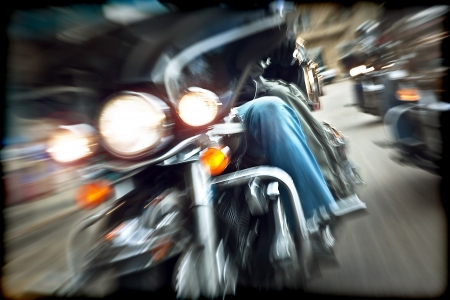Abstract slow motion, bikers riding motorbikes, drivers racing on a bikes, front view, blur movement, summer road trip, speed concept, freedom  photo