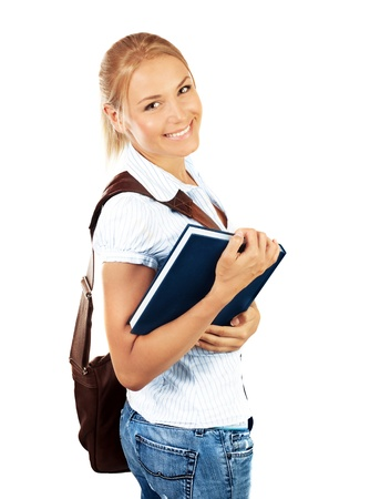 Portrait of beautiful happy student female, attractive clever smiling school girl with textbook isolated on white background, pretty smart cheerful teenager with laptop bag,education concept Stock Photo - 14686547