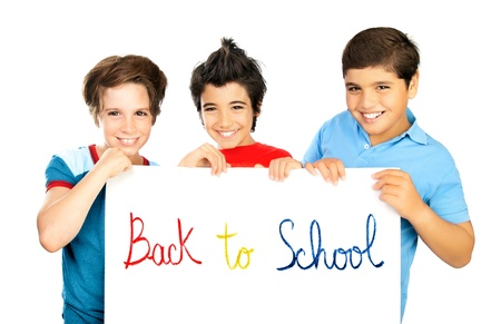 child model: Happy schoolboys isolated on white background, cheerful preteen boys students holding board with copy space for ad text, teen friends smiling, kids studying, children education back to school concept