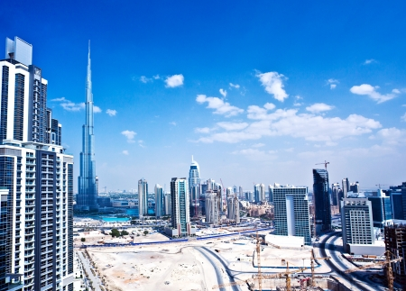 the gulf: Panoramic image of Dubai city,  modern cityscape, downtown with blue sky, luxury new high-tech city at Middle East, United Arab Emirates Editorial
