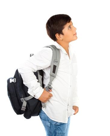niño con mochila: Colegial feliz sonriendo poco