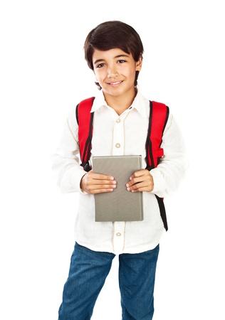 niño modelo: Colegial feliz aislado sobre fondo blanco Foto de archivo