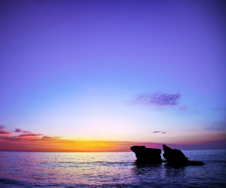 Photo of beautiful purple sunset over sea, peaceful natural background, ocean night landscape, tropical resort, romantic vacation, scenery of sundown on seascape, concept of summer holiday  photo