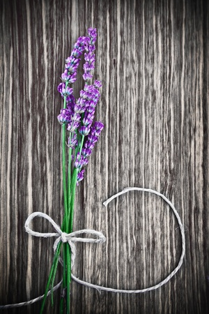 Photo of lavender flower on wooden textured grey background, bouquet of fresh purple flowers with bow on grunge gray tree backdrop, floral border, aroma therapy, herbal medicinal treatment  photo