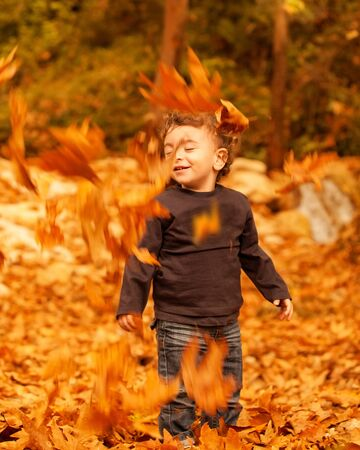 Picture of cute little boy enjoying autumnal nature, pretty infant playing in park, little child playing with old dry trees foliage, adorable toddler play game on backyard, happiness concept  photo