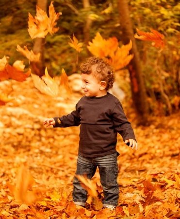 Image of adorable child enjoy autumn nature, pretty small male walking in the park, cheerful infant having fun in fall forest, happy boy spending time in beautiful fall woods, autumnal holiday photo