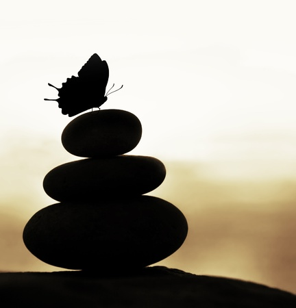 beach butterfly: Image of zen balance still life, abstract peaceful background, silhouette of stacked round stone and beautiful butterfly on the top, feng shui, harmony meditation, day spa concept