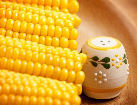 Photo of sweetcorn with beautiful saltshaker on the plate, food still life, vegeterian dish, hot boiled corn, ripe yellow maize, healthy eating concept, grain harvest season, organic meal in cafe photo