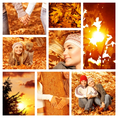 collage people: collage of autumnal leisure time outside happy couple in autumnal park