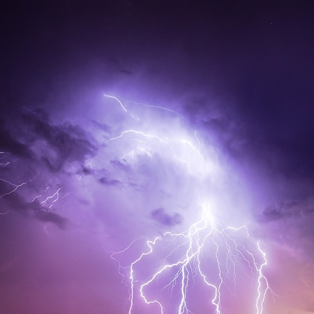 thunder: Picture of discharge lightning in cloudy purple sky