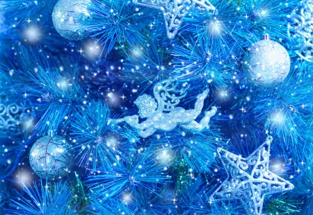 Picture of blue Christmas tree background, Christmastime fir decorations, star, bauble and angel decorated holiday spruce, happy New Year greeting card, xmas celebration, abstract wallpaper photo