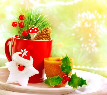 christmastime: Border of Christmastime utensil set Stock Photo