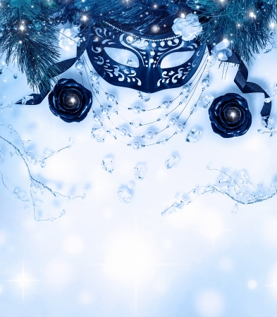 Photo of beautiful blue festive border, luxury mask with diamonds necklace and candles on blur background Stock Photo - 16632124