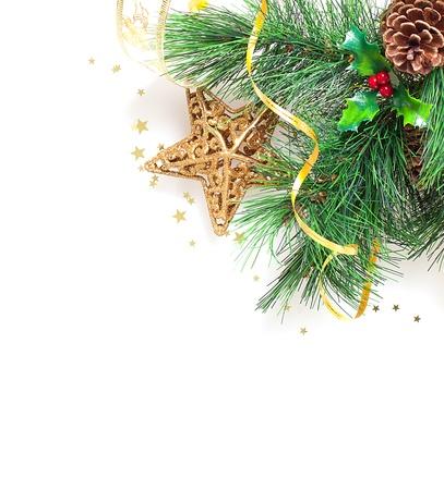christmas berries: Immagine di frontiera albero di Natale