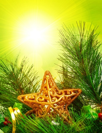 Picture of Christmastime decorative border, branch of Christmas tree decorated with golden star and ribbon, green pine tree twig isolated on yellow sunlight background, New Year holiday greeting card Stock Photo - 16763569