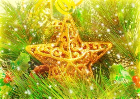 Image of Christmastime star decorations, golden star toy decorated green Christmas tree branch, festive home decor, luxury New Year ornament, Xmas greeting card, wintertime season Stock Photo - 16763543