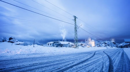 Picture of village covered with snow, beautiful New Year greeting card, snowy road in countryside, luxury villa on ski resort, snowfall in winter, wintertime holidays, cold weather Stock Photo - 16763560