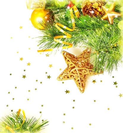 beautiful Christmas border, Christmastime festive still life, green fir tree decorated with golden ribbon, star and ball isolated on white background, New Year greeting card, Xmas decoration Stock Photo - 16854222
