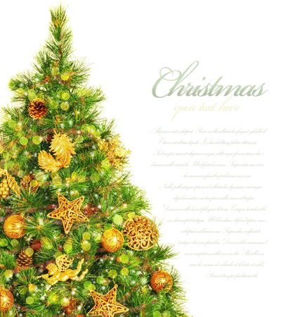 Picture of Christmas tree border, green pine tree decorated with cone, ribbons, golden angels and bauble isolated on white background, copy space, traditional celebration, New Year event, studio shot  photo