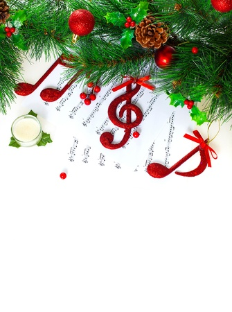 treble:  Christmastime treble clef, red musical symbol on note pages, festive holiday border, traditional Christmas carol, New Year tree decorated with different beautiful baubles, Xmas greeting card