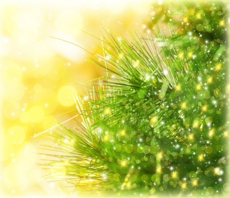 Image of Christmas tree border, green fir branch isolated on yellow blurred background, Christmastime decorations, fresh pine tree twig decorated with golden glitters, New Year greeting postcard photo