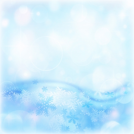 wintertime: Image of blue abstract winter background, illustration of beautiful snowflakes, wintertime decorations border, happy New Year holiday, festive greeting postcard, Christmas ornament