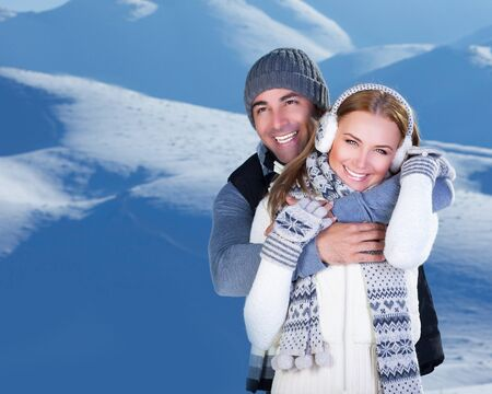 Photo of happy family enjoying winter vacation in snowy mountains photo