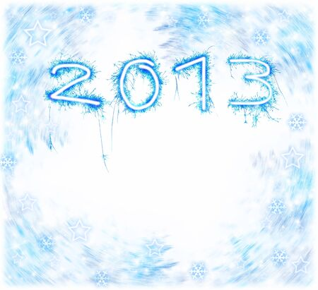Image of New Year festive frostwork, abstract holiday background, beautiful blue digits on white background, 2013 numbers on frosty snowflake backdrop, christmas holiday, hoar ornament Stock Photo - 17155833