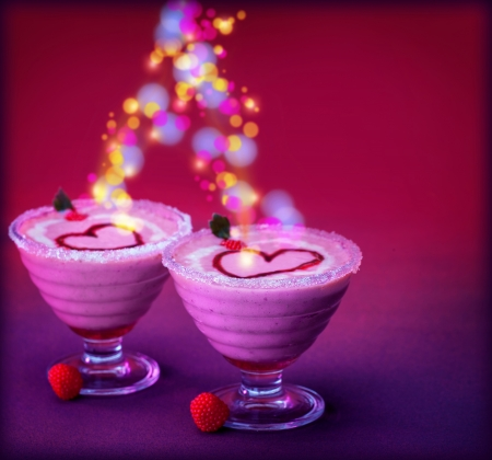 Photo of tasty festive ice cream isolated on purple background, glowing colorful lights, Valentine day holiday, sweet food, cold milkshake, fruit smoothie, delicious sundae, love concept, heart shape photo