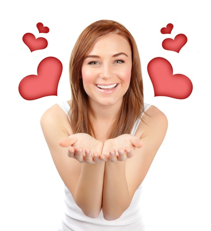 Picture of pretty woman with red hearts isolated on white background, female in love, first affection, Valentine day, romantic teenager girl, closeup portrait of dreamy young lady, happy concept Stock Photo - 17641631