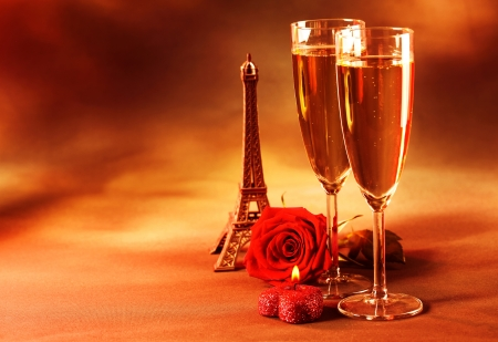 Picture of two glass of champagne on the table in restaurant, party dinner, wedding day, festive drink for Valentine day holiday, grunge background, fresh rose, Eiffel tower, love and romance concept photo