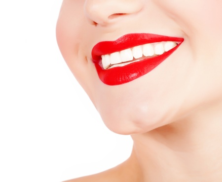 perfect teeth: Photo of perfect girls smile, closeup of female face part isolated on white background, sexy red lipstick, dental health care, healthy teeth, tooth whitening, stomatology clinic, dentistry concept