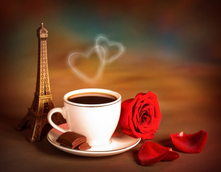 candy hearts: beautiful still life of Europe dessert, travel to Paris, morning coffee with pieces of sweet chocolate