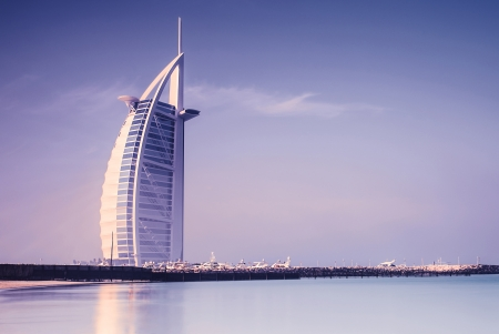 DUBAI, UAE - JAN 28: Burj Al Arab is 321m, second tallest hotel in the world, luxury hotel stands on an artificial island, January 28,2013 Jumeirah beach, Dubai, United Arab Emirates