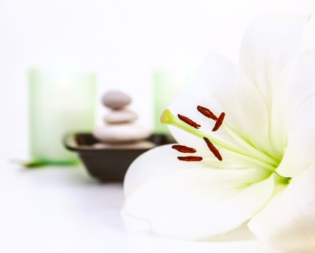 organic spa: Photo of beautiful white lily flower, pebble stones, two candles, spa still life, dayspa, luxury beauty salon, hygiene items, bath objects, healthy lifestyle, organic cosmetics, resort concept