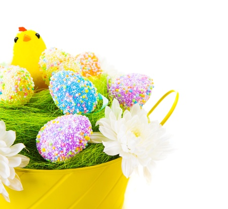 eastertime: Beautiful colorful Easter eggs decorated with chicken toy isolated on white background, traditional christian eastertime symbol