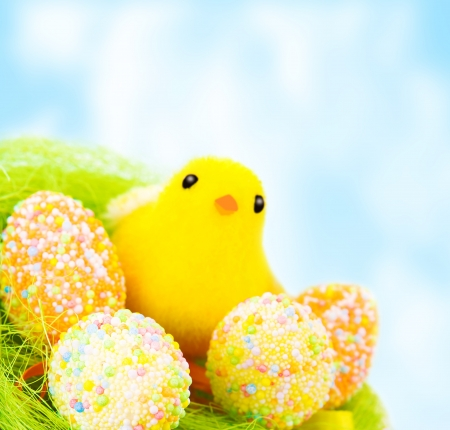 Beautiful Easter still life outdoors over blue sky, traditional decorated eggs with small chick in the nest photo
