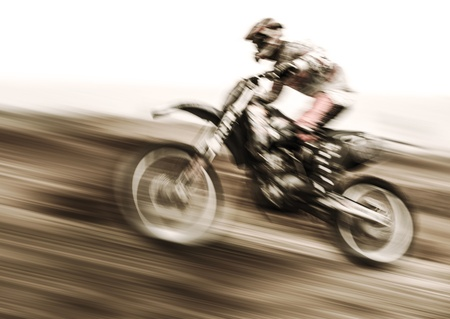 Championship of motocross, side view of sportsmen driving motorcycle, slow motion, speed highway, extreme lifestyle photo