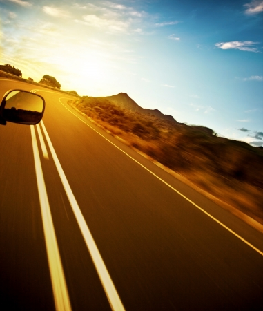 destination scenics: Road trip, car on the highway, speed drive, road-trip in sunny day, journey and freedom concept, travel and vacation