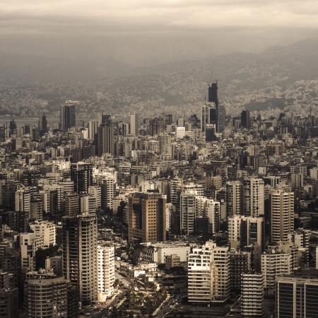 lebanon: Beautiful Lebanon cityscape, aerial view, arabic architecture, tall buildings, travel and tourism concept
