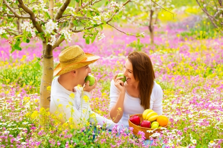 Happy couple on picnic in beautiful blooming garden, eating healthy organic food, romantic date, summer holiday and vacation concept photo