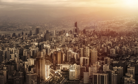 lebanon: Aerial view of beautiful cityscape on sunset, arabic architecture, down town, middle east, Lebanon, travel and vacation concept