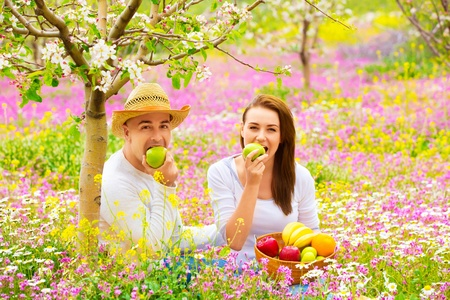 Young beautiful couple having picnic outdoors in summer time, biting fresh green apple, relaxation outdoors, love concept photo