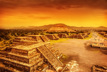 Pyramids of the Sun and Moon on the Avenue of the Dead, Teotihuacan ancient historic cultural city, old ruins of Aztec civilization, Mexico, North America, world travel photo