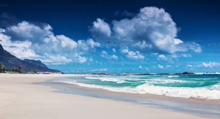 capetown: Clifton beach, Cape Town, South Africa, paradise beach, luxury tropical resort, panoramic seascape, sunny day, summer holiday and vacation concept Stock Photo