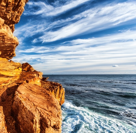 cape of good hope: Rocky headland on the Atlantic coast of the Cape Peninsula, South Africa, most south-western point of the African Continent, Cape of Good Hope, beautiful natural background, mountain border