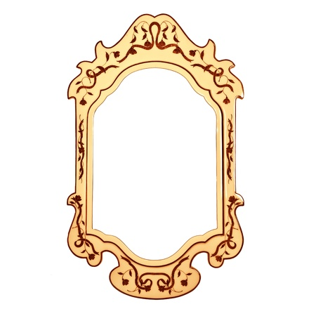 Empty vintage mirror frame isolated on white background, golden retro style framework, beautiful wooden carved frame in home interior, luxury furniture photo