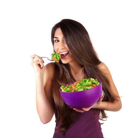 loss: Portrait of attractive female eat salad isolated on white background, body care, loss weight, fresh vegetables, organic nutrition