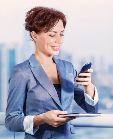 vp: Closeup portrait of pretty young woman calling to business partner, beautiful executive manager, good worker, active job, successful career concept Stock Photo
